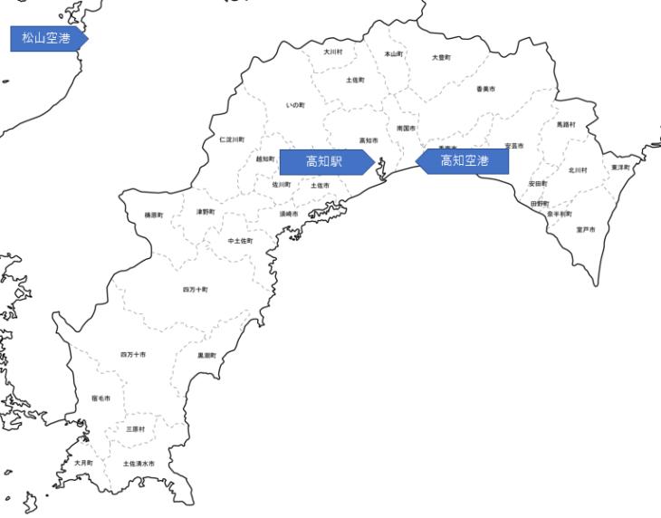 高知県の地図