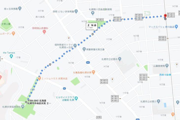札幌伏見稲荷神社 旧参道 道順