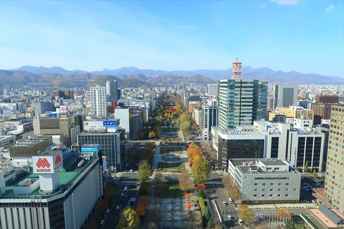 さっぽろテレビ塔から写した札幌の街並みの写真