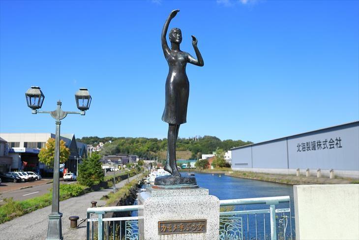 小樽 北運河の北浜橋にある銅像「カモメ呼ぶ少女」