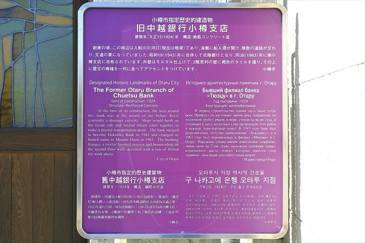 旧中越銀行小樽支店 小樽市指定歴史的建造物説明板
