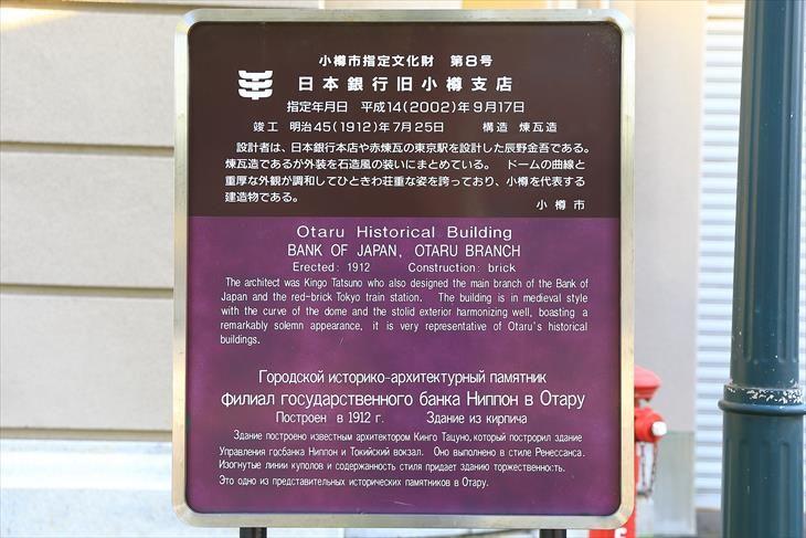 日本銀行旧小樽支店金融資料館 説明板