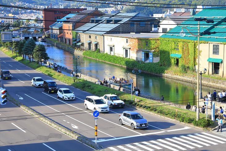 小樽出抜小路の火の見櫓から見た小樽運河