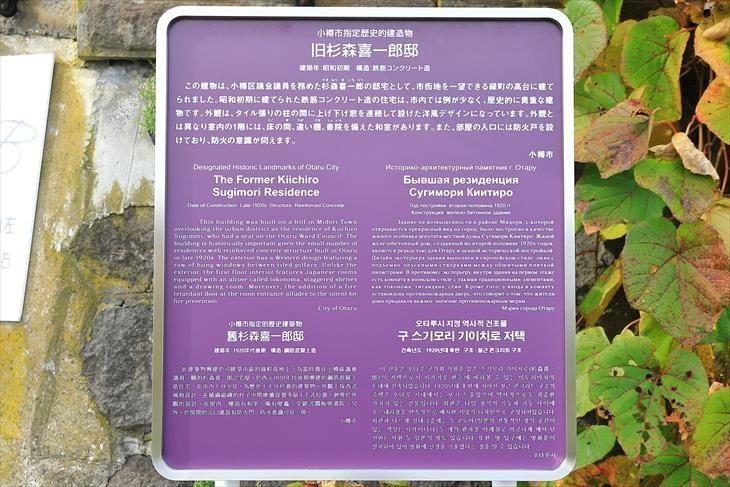 旧杉森喜一郎邸 小樽市指定歴史的建造物説明板