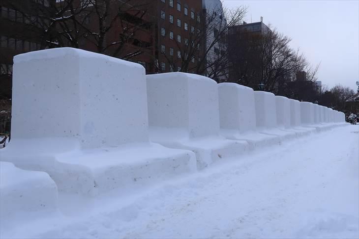 市民雪像の準備