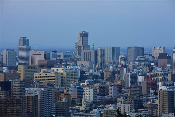 旭山記念公園のマジックアワーの景色