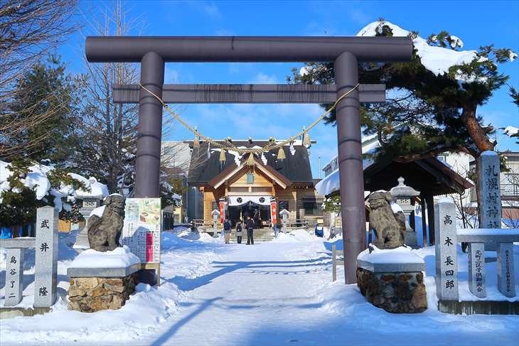 札幌村神社 入口の鳥居 冬