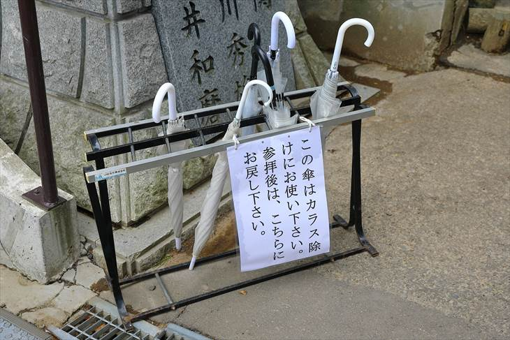 手稲神社 参道に置かれた傘
