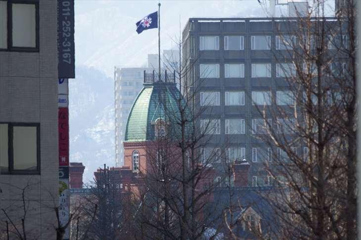創成川通り 北三条歩道橋から赤れんが庁舎を見る